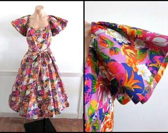 BLAIR WOOLVERTON Bespoke Dress / Vintage 80s Couture Dress ' fits S / 1980s Floral Dress / Vintage Couture Floral Dress
