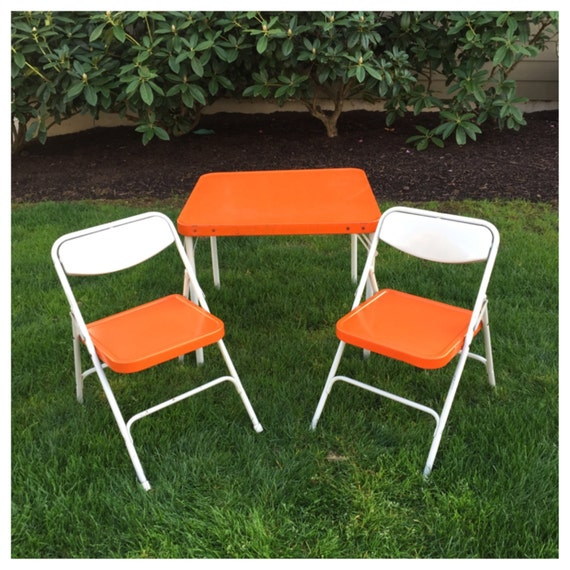 Vintage Orange Samsonite Child S Table Amp Chairs By