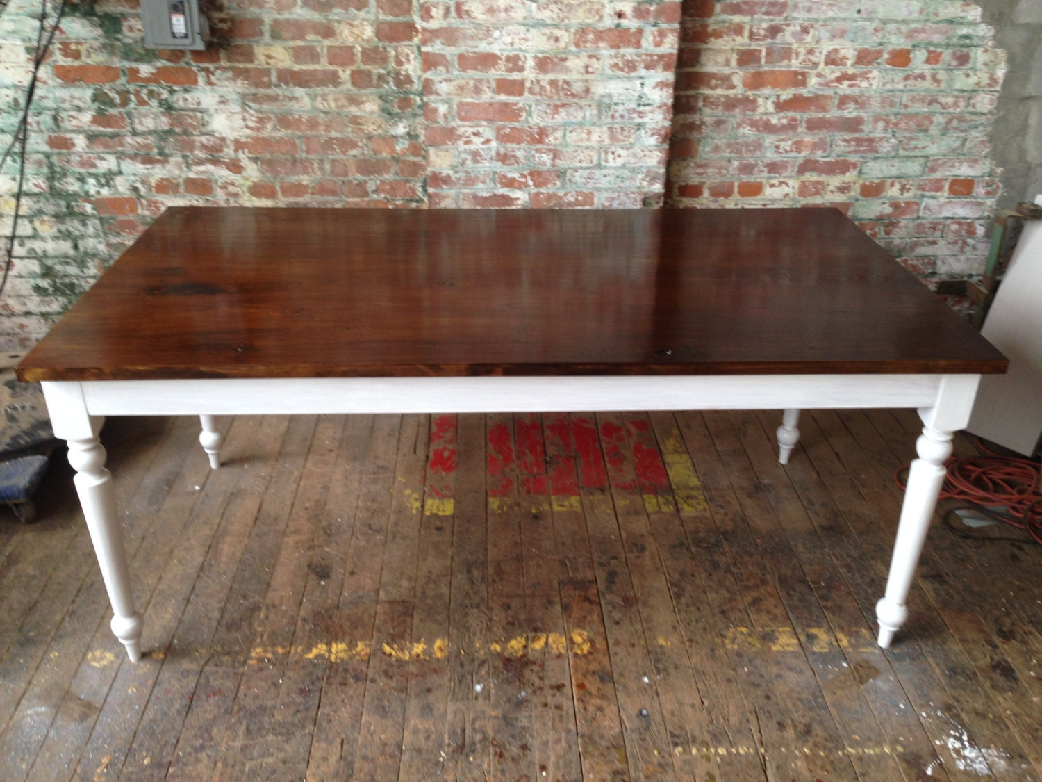 French Country Dining Table Walnut stained Ash & White Oak