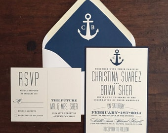 Nautical Navy Invitation Suite // Anchor and Monogram // Purchase this Deposit to Get Started
