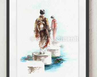 Geisha Girl Painting Japanese Woman Art Watercolor Artwork Home Decor