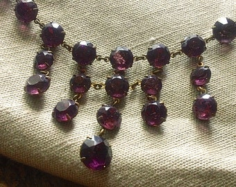 Vintage Faux Amethyst Bib Necklace
