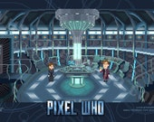 """Pixel (8 bit) 11th Doctor Console Room Print - """"The Snowmen"""" Episode Special"""