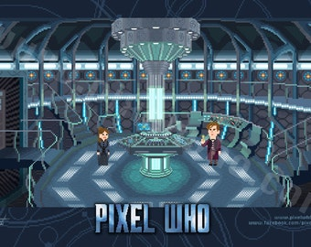 "Pixel (8 bit) 11th Doctor Console Room Print - ""The Snowmen"" Episode Special"