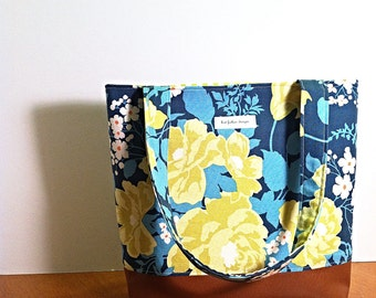 CLEARANCE SALE! Blue Floral Shoulder Bag with Vegan Leather Bottom, Small Tote Bag with Pockets in Blue and Green, Floral Fabric Purse