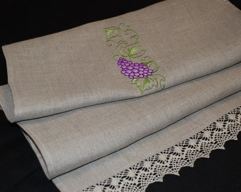 Linen Table Runner Linen Lace Embroidery Organic Grey Table Runner