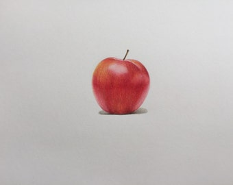 Realistic Colored pencil drawing - Red Apple - drawing apple - kitchen art - original art