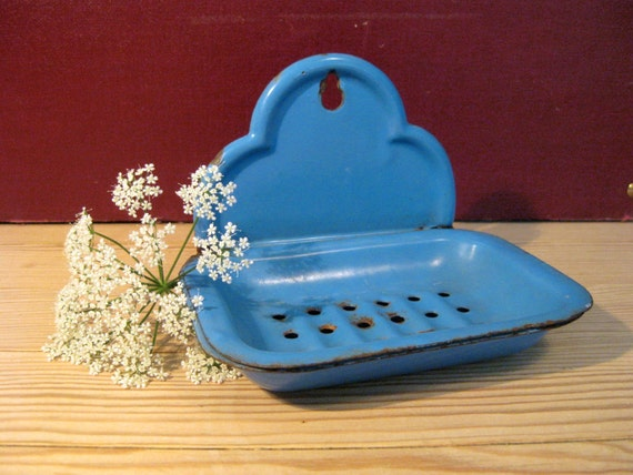 Danish Vintage 1950s Blue Enamel Soap Dish Glud & By
