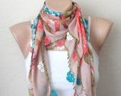 rose color pink scarf green flower orange salmon blue white  cotton turkish yemeni oya handmade