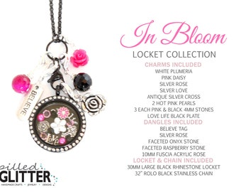 In Bloom Hot Pink and Black Floating Locket and Charm Collection for Floating Charm Glass Memory Lockets & Necklaces