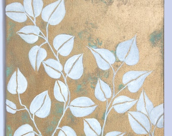 """Acrylic Painting """"White Leafs Two"""""""