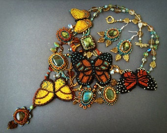 Artisan jewelry set with bead embroidered butterflies & labradorite cabochons - OOAK handmade set of earrings and necklace