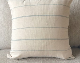 Decorative pillow cover, french farmhouse, light beige with light blue stripe fabric, home decor, home living, throw pillow cover