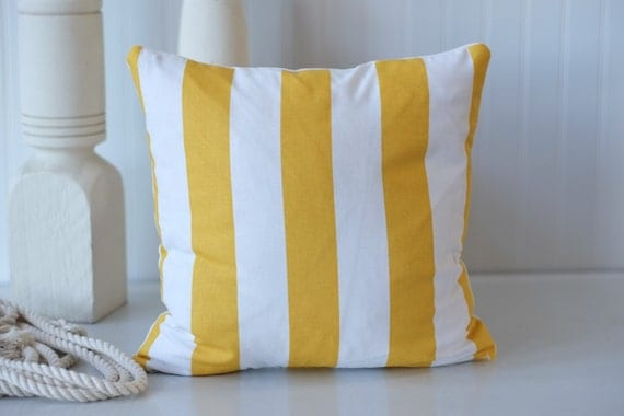 Yellow stripe white striped decorative pillow by OldLakeGeorge