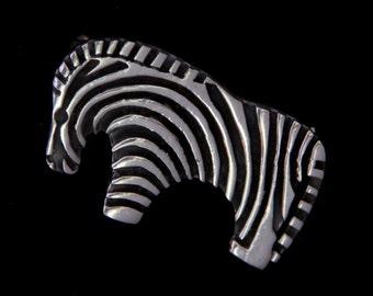 Primitive Zebra Sterling Silver Brooch