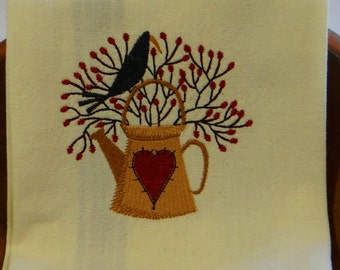 Country Crow Watering Can Cotton Kitchen Dish Towel