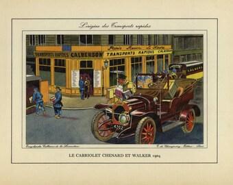 Original Vintage Automobile Color Lithographs Cabriolet Chenard 1904
