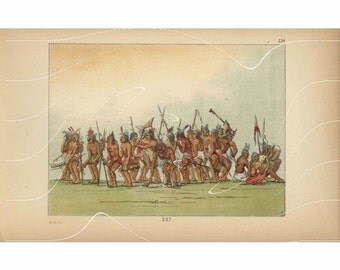 Original Antique Color Lithograph Print Of  American Indian- American Indian Warriors From George Catlin  from first colored Edition.