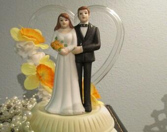 1984 Wilton Wedding Cake Topper - Upcycled - Yellow Daffodils