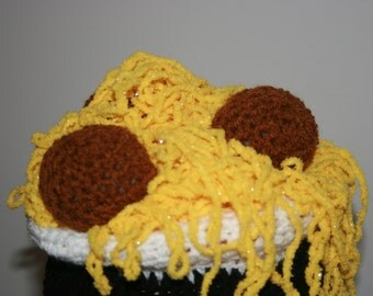 Spaghetti n' Meatballs 'Inspired' Crochet Earflap Hat. Unique And Fun Hat! Why Not Wear Your Dinner! Great Gift! Already Made. Ready to send