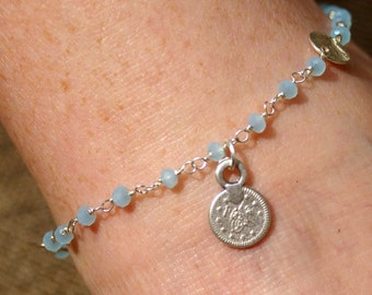 Anklet Blue Chalcedony Beaded with Silver Coin - Anklet, Ankle Bracelet, Boho, Gypsy, Beach Jewelry