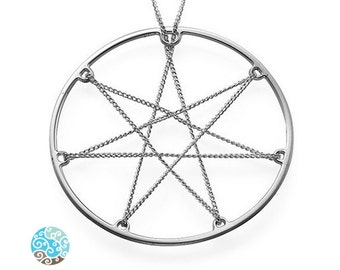 In Chains Septagram star Sterling Silver Necklace