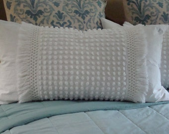 """Cream Vintage Chenille Pillow Sham With Fringe for a 20"""" x 36"""" Pillow Insert"""