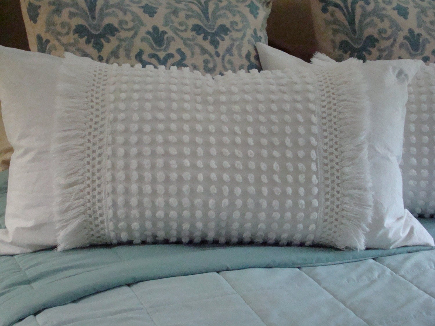 Set Of Two Off White Vintage Chenille Pillow Shams With Fringe
