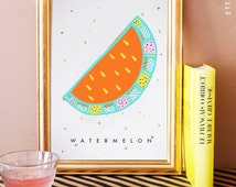 Orange watermelon illustrated digital print poster with gold leaf flakes