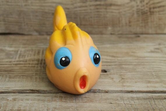 Vintage soviet rubber toy fish collectible by for Rubber fish toy