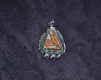 Handmade Sterling Silver and Leopard Skin Jasper Pendant