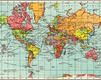 ANTIQUE WORLD MAP map of the World Map, Art Print of old map, A5 to A0 200 gsm