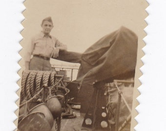 Vintage Black & White Snapshot Photograph: WW2 Military Ocean Soldier 1940s