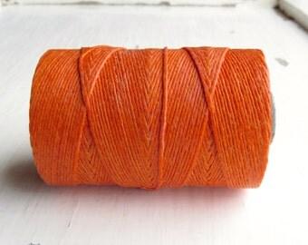 Orange Crush (5 yards) Irish waxed linen cord 4ply - orange linen cord, linen thead, Irish linen, uk beading supplies