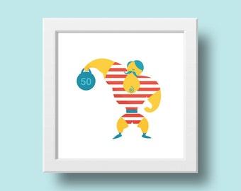 Circus: Strongman Print, Printable Art, Printable Wall Art, Digital design, INSTANT DOWNLOAD - A4(300dpi)
