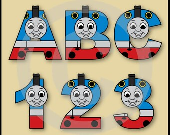 Thomas Train Alphabet Letters & Numbers Clip Art Graphics