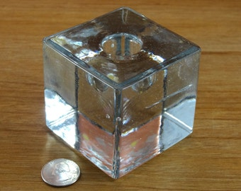 Vintage Heavy Glass Cube Paperweight Candle Holder Made In Poland.