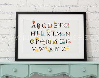 Alphabet Poster - Nursery Wall Art - Playroom Poster - Alphabet Wall Art - Alphabet Nursery Art - Alphabet Nursery - Nursery Art - 22-1002