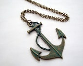 Anchor necklace nautical large charm vintage style bronze verdigris patina finish pirate jewellery