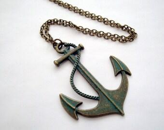 Anchor necklace, nautical large charm, vintage style bronze verdigris patina finish, pirate jewellery