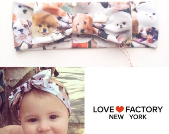baby Bow headwraps dog print-kawaii baby headbands-hipster baby headwraps-baby bow beach headbands-Love Factory New York