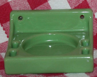 Vintage Green Porcelain Cup and Toothbrush Holder