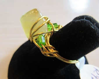 Handmade For You Artisan Wire Wrapped Gold Ring with Natural Yellow Semi Precious Gemstone and Lime Green Czech Glass side Beads Size 5 R42