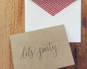 hand-lettered lets party card