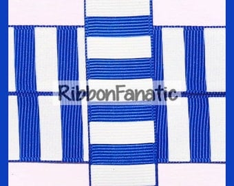 """5 yds 7/8"""" Bright Electric Blue and White Candy Stripe Grosgrain Ribbon"""