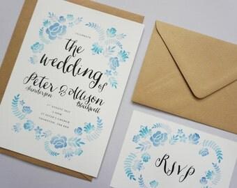 Floral Watercolor Invitation Set // Blue