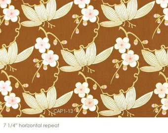HALF YARD Quilting Cotton - Amy Butler - Midwestern Modern - Trailing Cherry in Brown AB-28