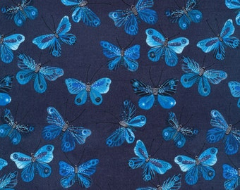 100% Organic Cotton - Moody Blues - Dark Butterflies - by Geninne - Cloud 9  - HALF YARD dark blue butterflies nature