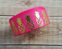 5/8 inch PASSION FRUIT PINEAPPLE grosgrain ribbon