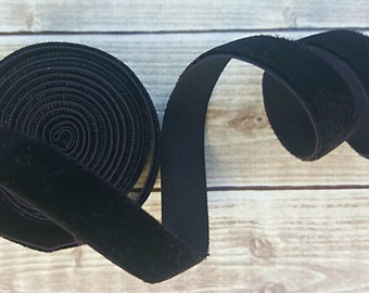 3/8 OR 5/8 Black Velvet ELASTIC Ribbon